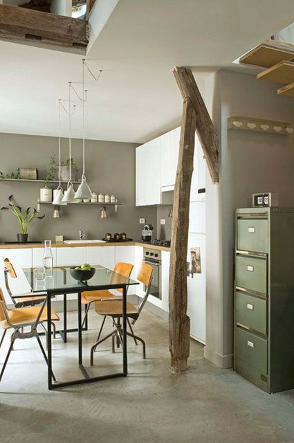 green/grey wall colour, simple layout, table and chair colour