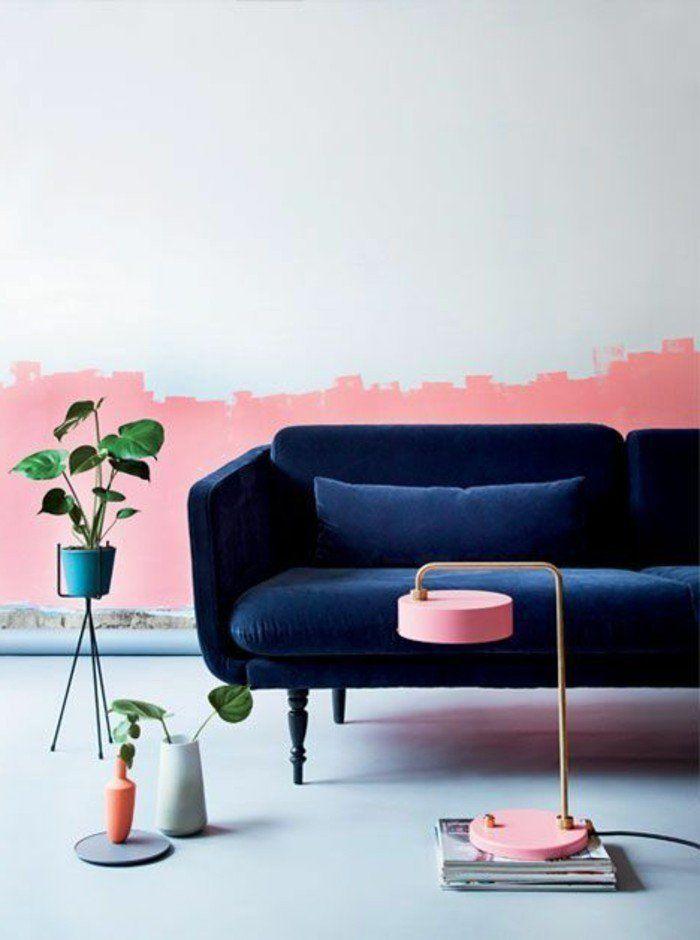 awesome Déco Salon - mur double couleur blanc rose, canapé bleu