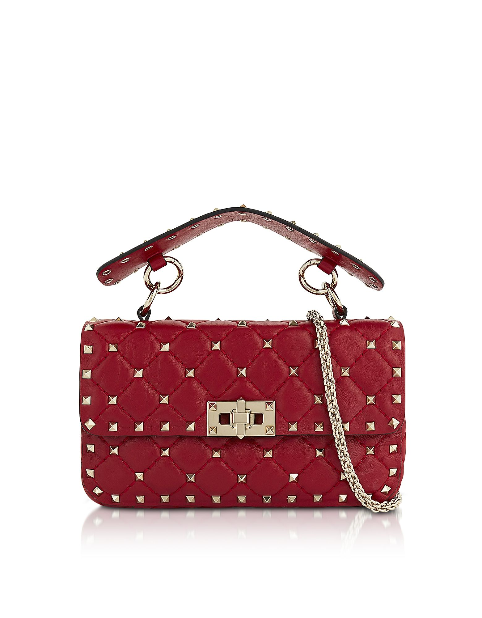 65e456a48a2 VALENTINO RED QUILTED LEATHER ROCKSTUD SPIKE SMALL SHOULDER BAG.  valentino   bags  shoulder bags  hand bags  leather  lining
