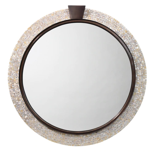 Thea Mirror In Mother Of Pearl Bronze Mirror Accent Mirrors Mother Of Pearl Mirror