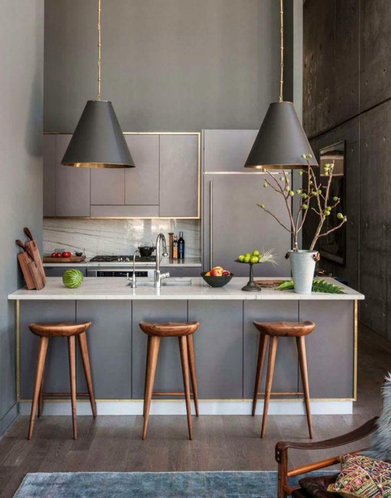 Lampade A Sospensione Per Isola Cucina.Design Moderno Di Colore Grigio Con Lampade A Sospensione