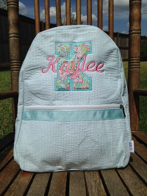 7288e0e08f Seersucker Backpack with Initial Applique Custom by BabyBearChic ...