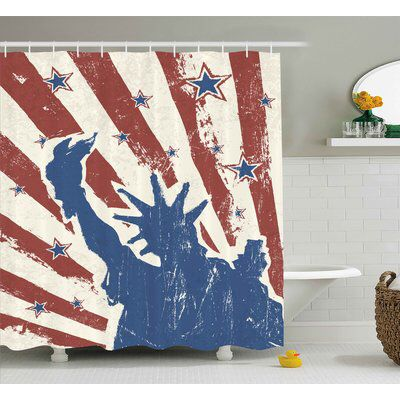 4th of July Retro Pop Art Style Independence Celebration Label Grunge Graphic Single Shower Curtain #retropop