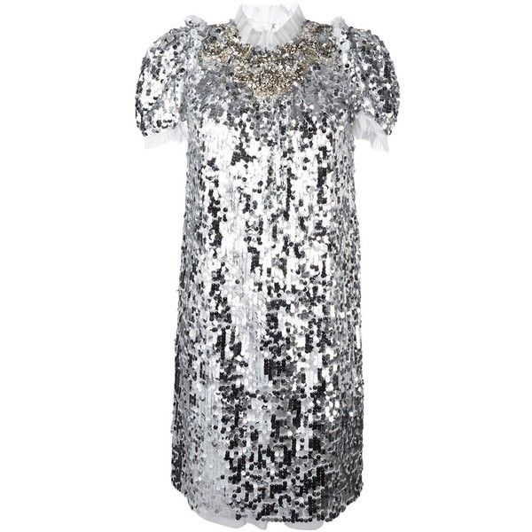 Dolce & Gabbana sequinned embellished dress ($4,995) ❤ liked on Polyvore featuring dresses, grey, short sleeve sequin dress, gray dress, short sleeve dress, grey dress and sequin dresses