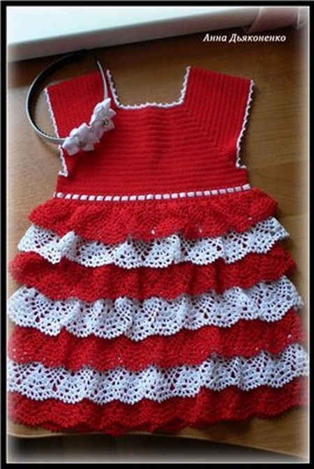 Robe rouge et blanche avec ses grilles gratuites baby preemie stuff crochet knit loomed - Robe bebe en crochet avec grille ...