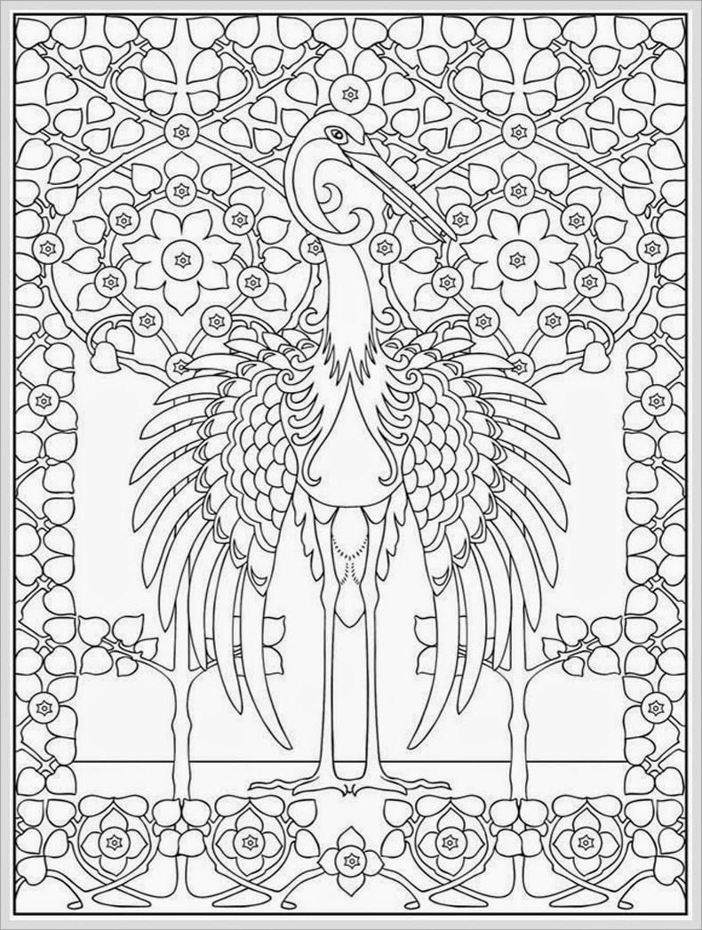 Coloring pages bird - Heron Bird Adult Coloring Pages Free Realistic Coloring Pages