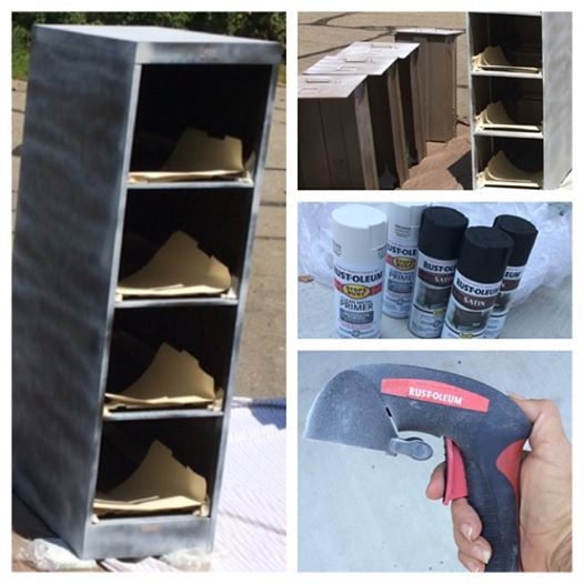 MY FILE CABINET DIY BEFORE... I decided to paint my old metal file cabinets. Here they are primed and ready to spray. I highly recommend the $8 spray can attachment.