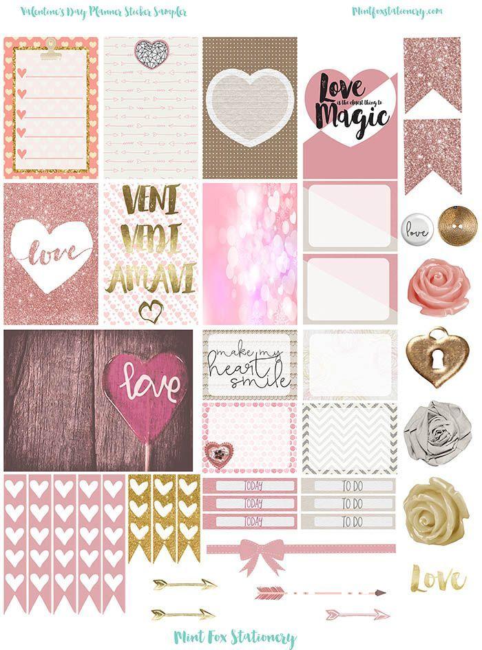 Free Valentine Planner Sticker Sampler | paper | stickers ...