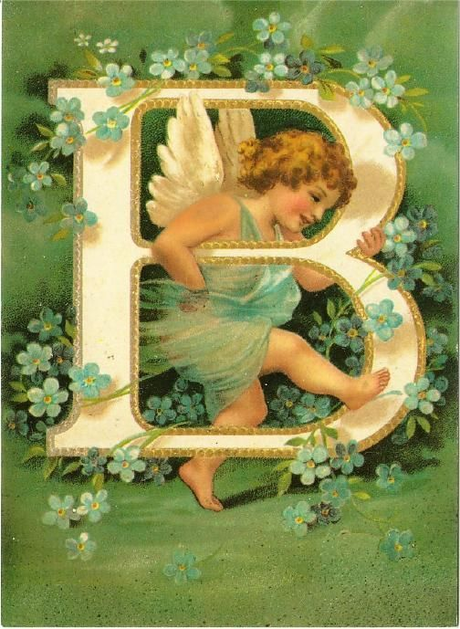 Letter B Initial and Cupid Clapsaddle Alphabet Repro Postcard