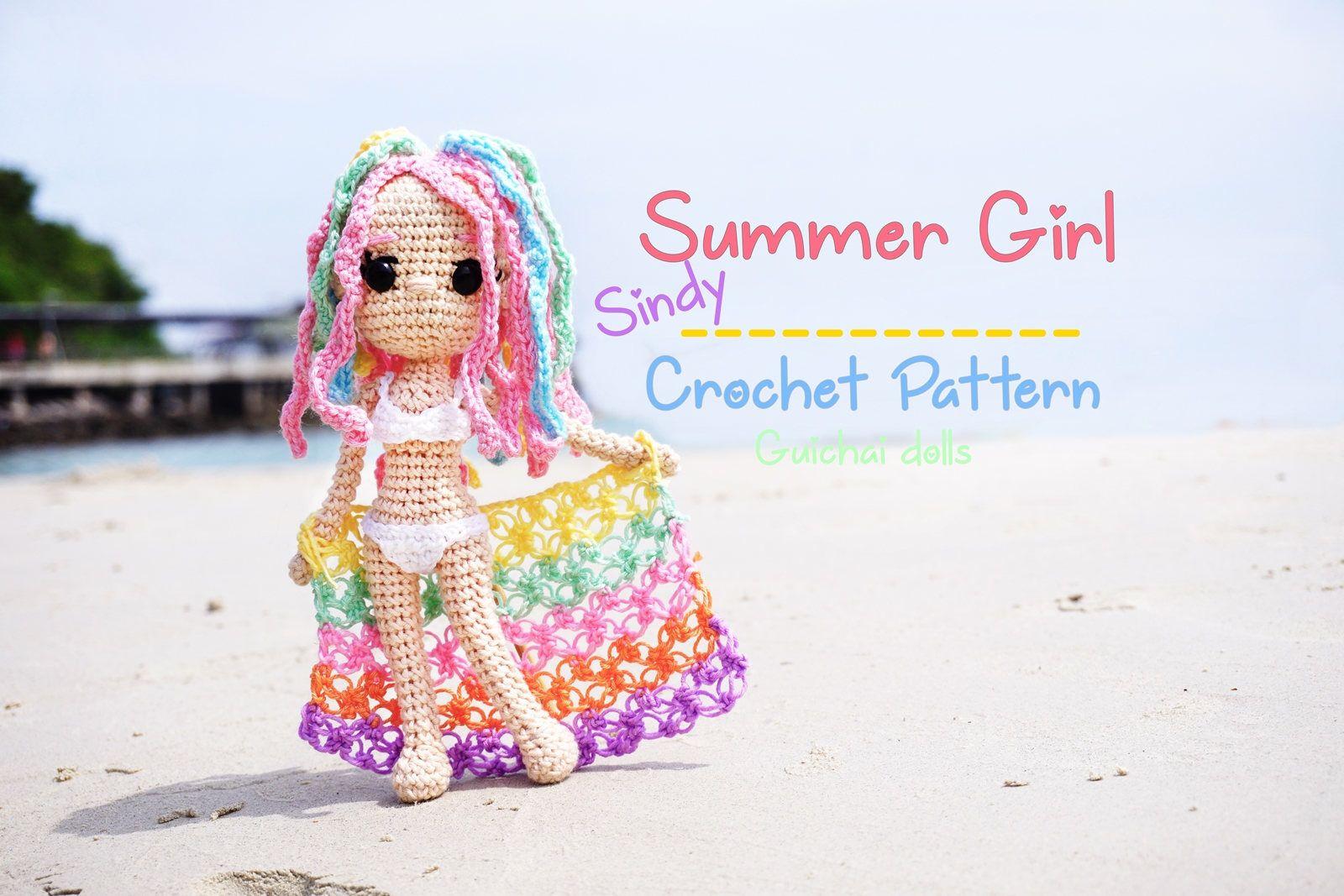 Crochet Doll Pattern Summer Girl Guichai Dolls Pattern