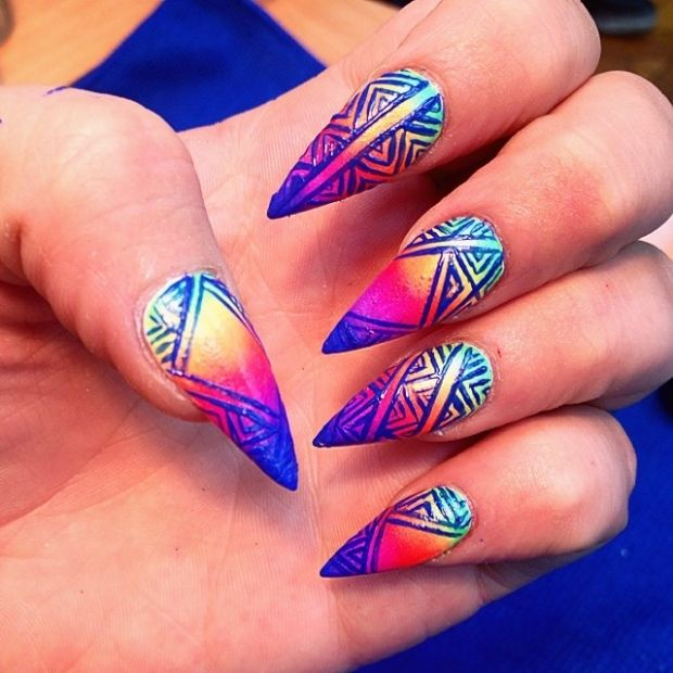 Blue Neon Design On Pink Yellow Ombre Stiletto Nail Trendy Nail