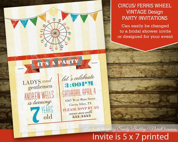 Vintage Circus Birthday Invitation Circus Party Digital