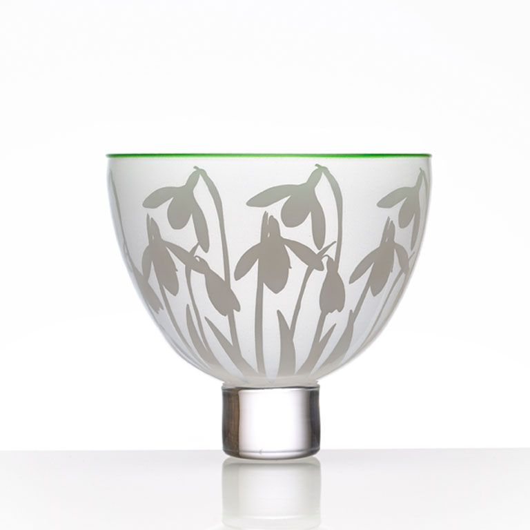 Gillies Jones - The flower of hope, the celebrated sign of springs return. An edition of 75 Bowls in pure white glass with a green lip wrap.