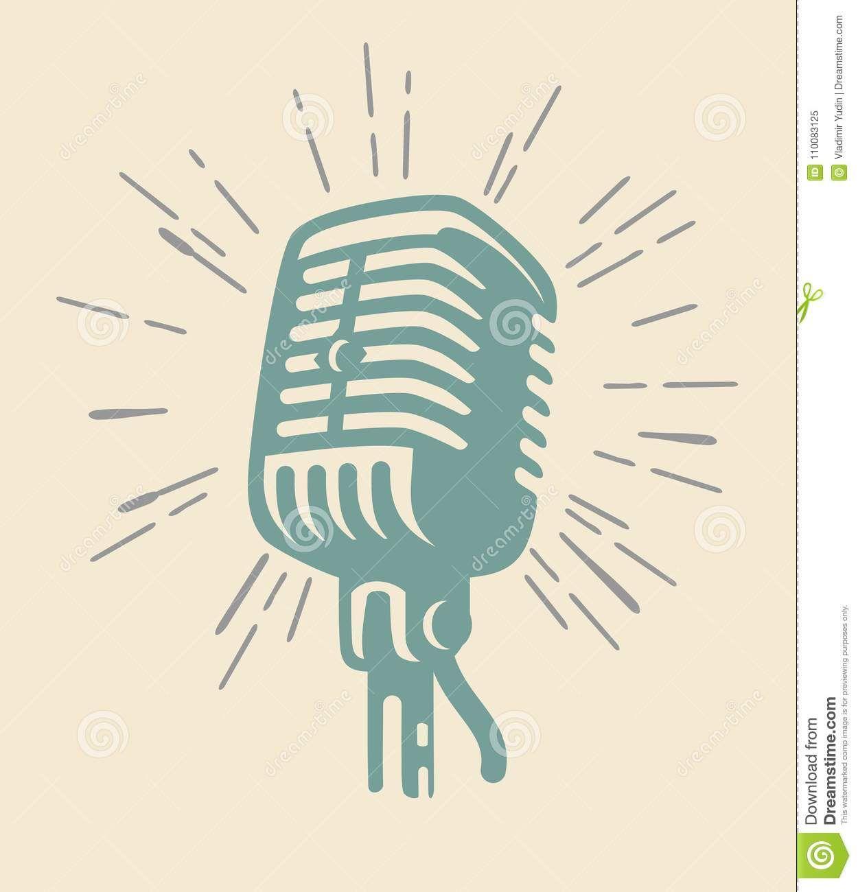 Vintage Microphone On Beig Stock Vector Illustration Of Musician 110083125 Vintage Microphone Illustration Vector Illustration Design