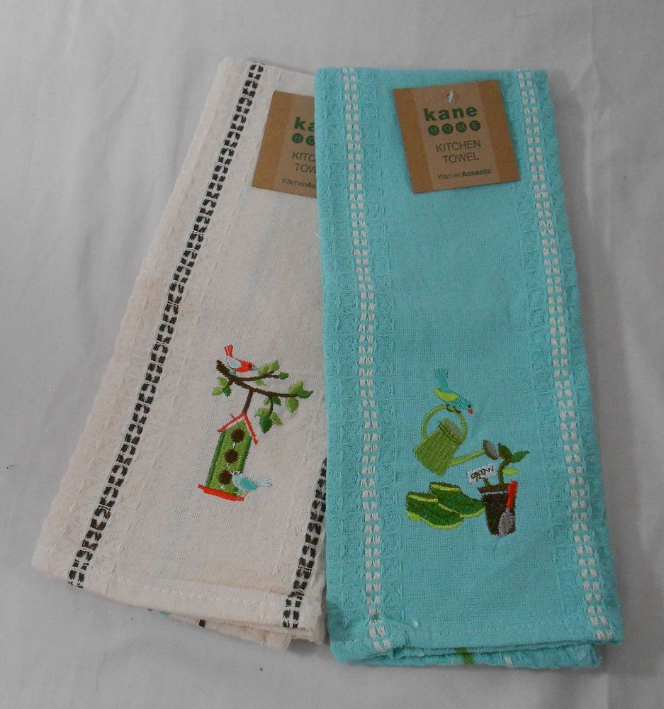 Kane Home Kitchen Towel Set Of 2 Embroidered New Birdhouse Garden Tools  #KaneHome
