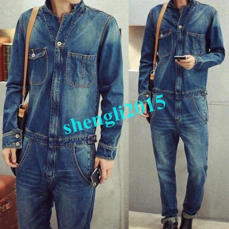 Vintage Classic Denim Mens Dungarees Overalls One Piece Jumpsuits