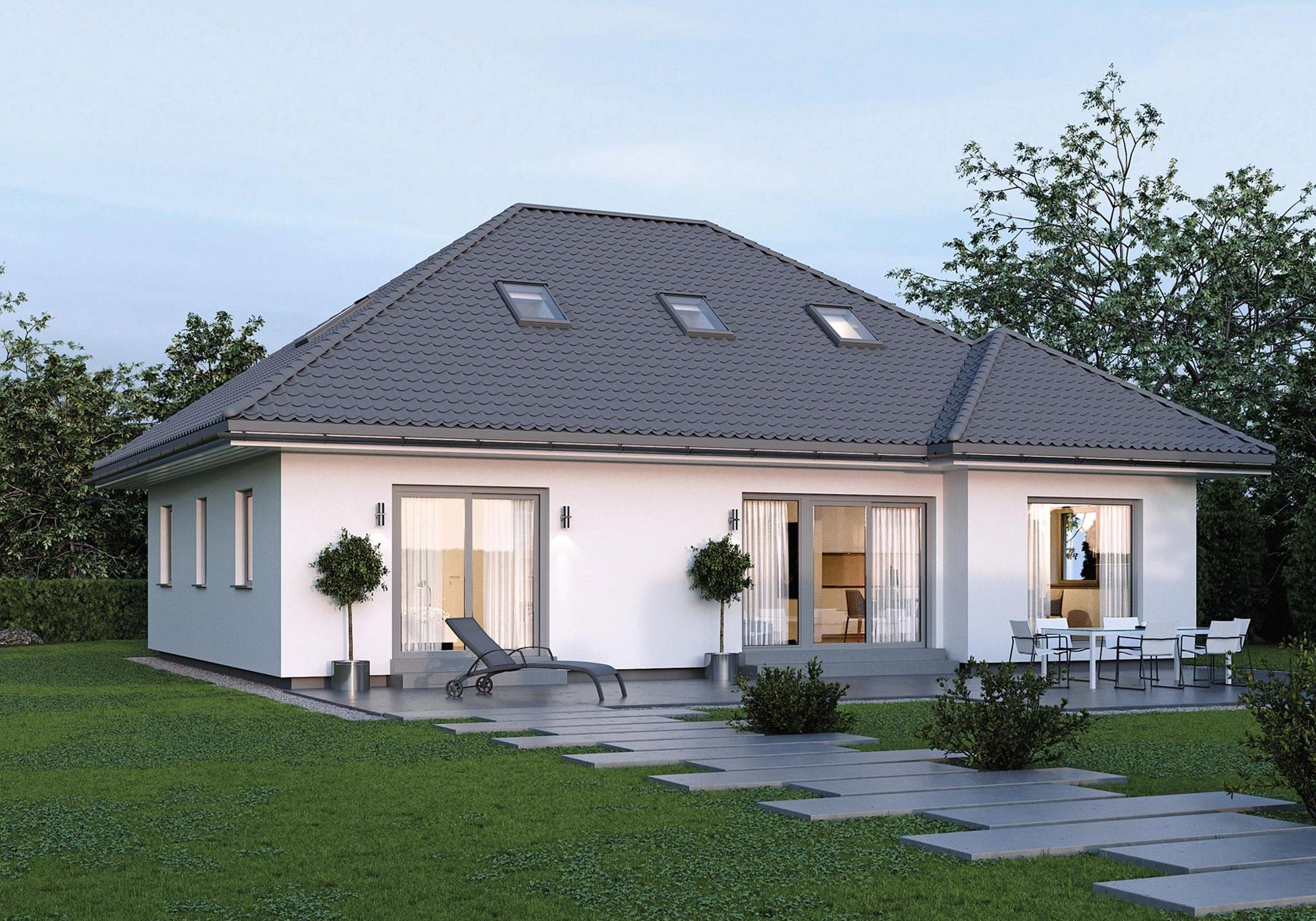 Modernes Haus ebenerdig mit Walmdach Architektur