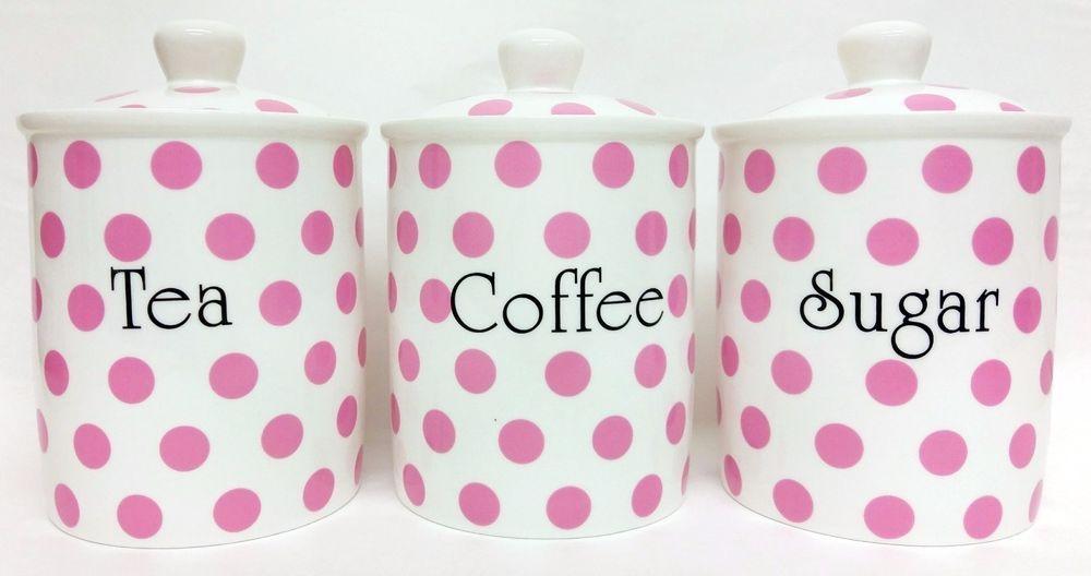 Light Blue Spots Tea Coffee Sugar Canisters Bone China Storage Jars Set Decor UK