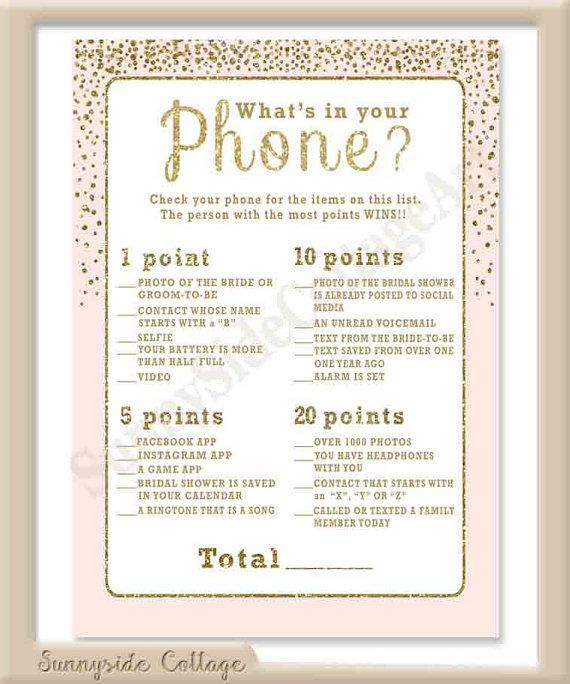 whats in your phone bridal shower game by sunnysidecottageart