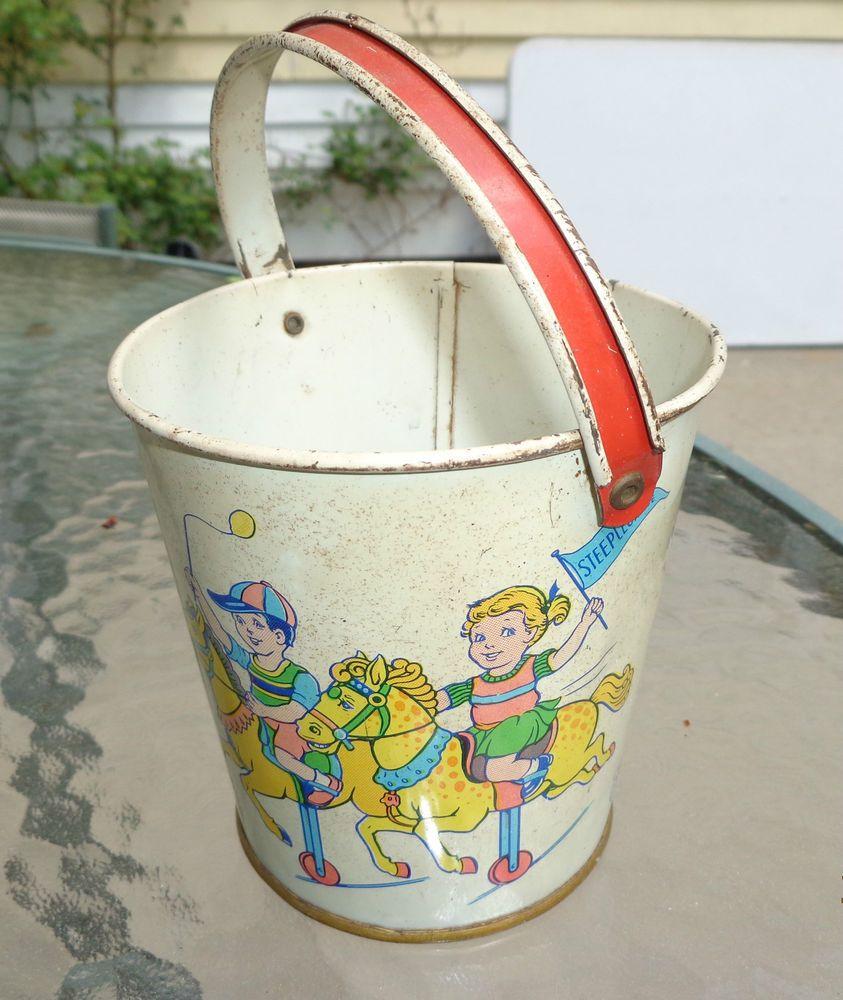Old Chein tin litho beach sand pail toy