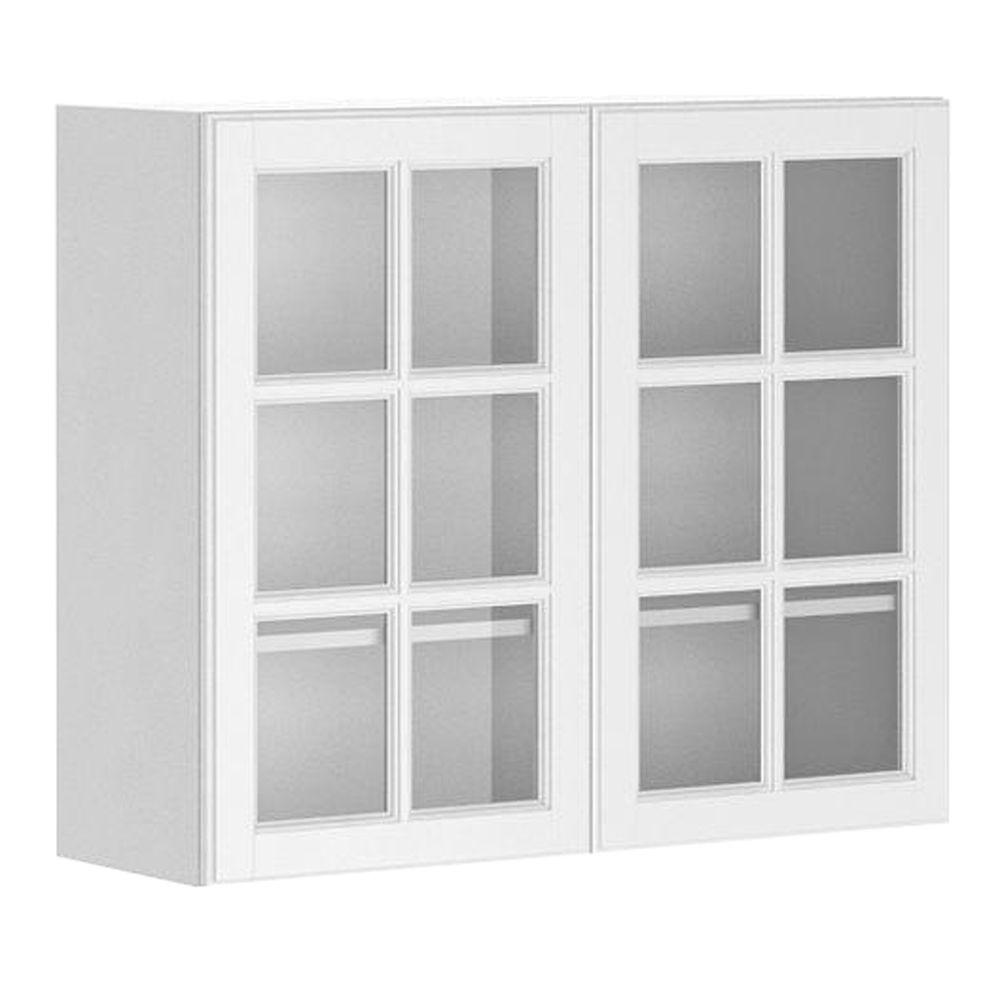Fabritec Ready To Assemble 36x30x12 5 In Birmingham Wall Cabinet In White Melam Glass Kitchen Cabinet Doors Glass Cabinet Doors Glass Fronted Kitchen Cabinets