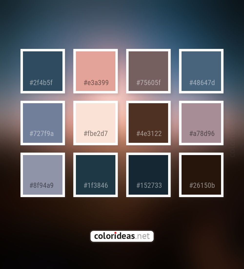 Farbpaletten Blau: Calypso Dark Gray / Smoked Shady Lady Dark Gray Color