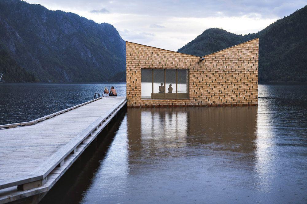 Eine Sauna Auf Dem Telemarkskanal Aussensauna Naturschwimmbad Sauna Im Garten