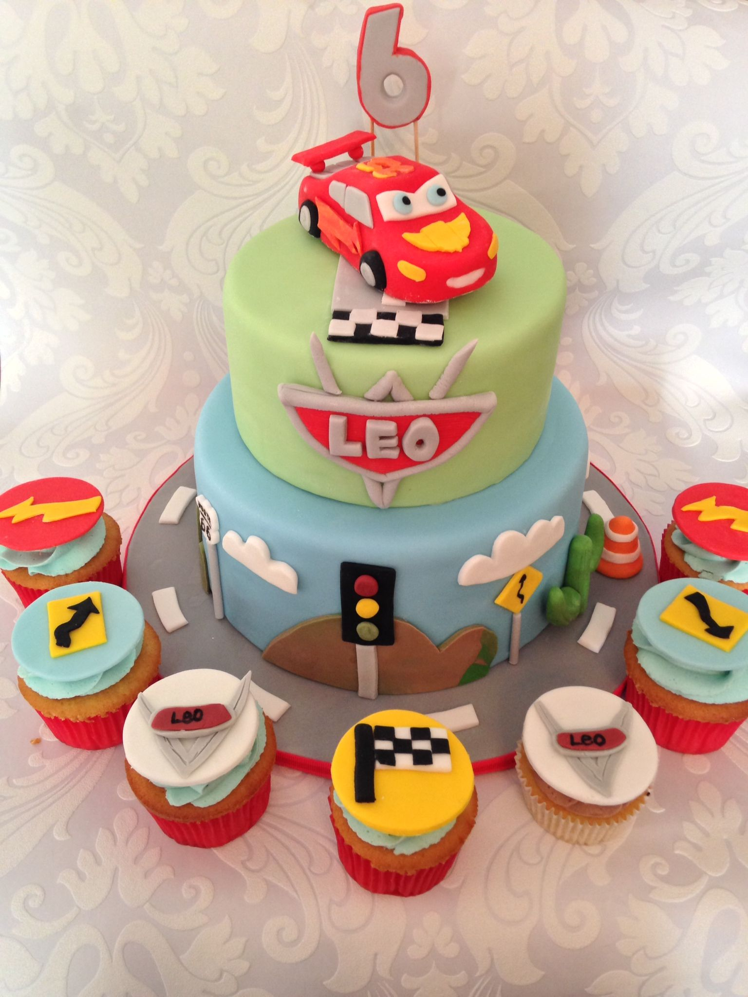 Disney Cars  Tier Birthday Cake  Matching Cupcakes Cakes - Birthday cake cars 2