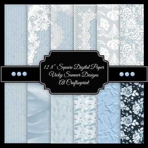 Powder Blue Satin and Lace Square Digital Paper set of 12