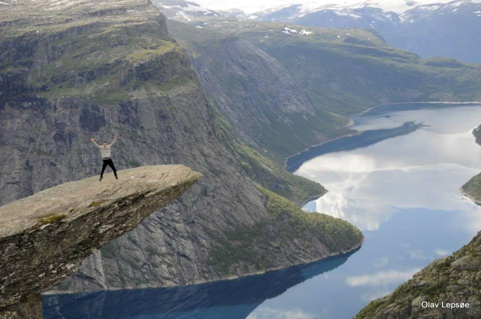 My stephson is jumping on Trolltunga, Odda, Norway. By Olav Lepsøe.