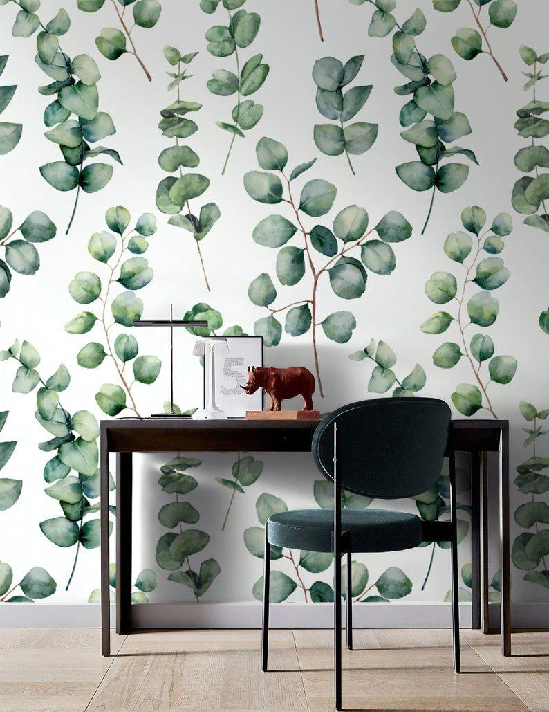 Floral Wallpaper Self Adhesive Peel And Stick Watercolor Green Etsy In 2021 Leaf Wallpaper Plant Wallpaper Mural Wallpaper