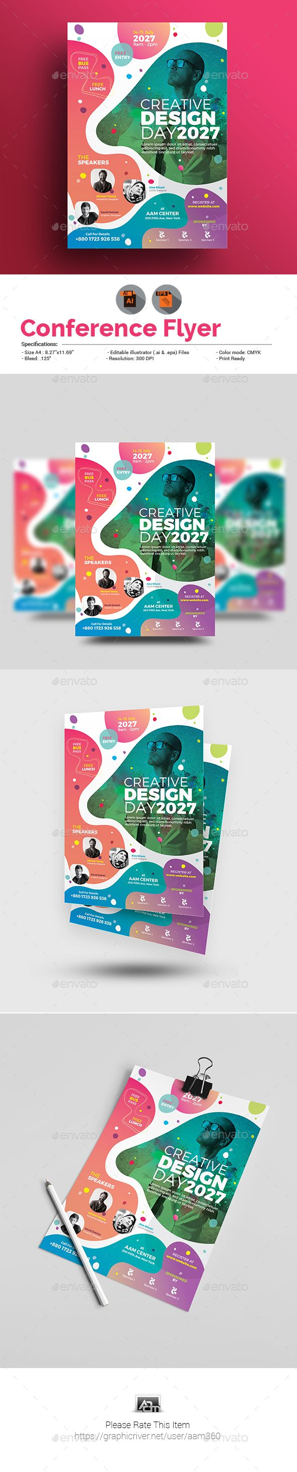 Conference Flyer  Flyer Template Ai Illustrator And Template