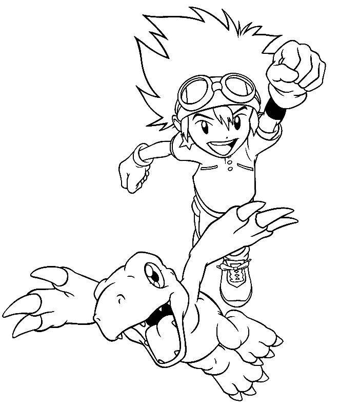 Digimon Ran With Partner Coloring Pages For Kids Printable