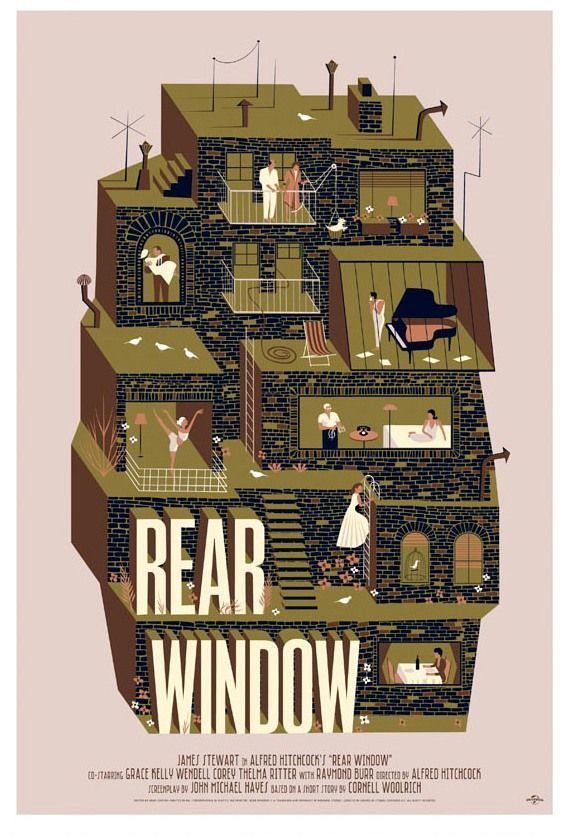 rear window by adam simpson alternative film posters  feel rather sad i cant remember essays written and discussions about all this rear window by adam simpson