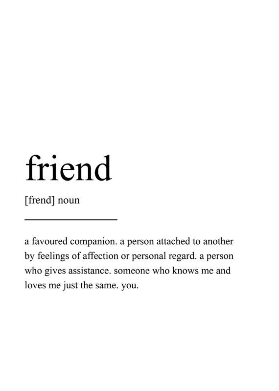 Friend Definition Print Wall Art Prints Quote Prints Wall