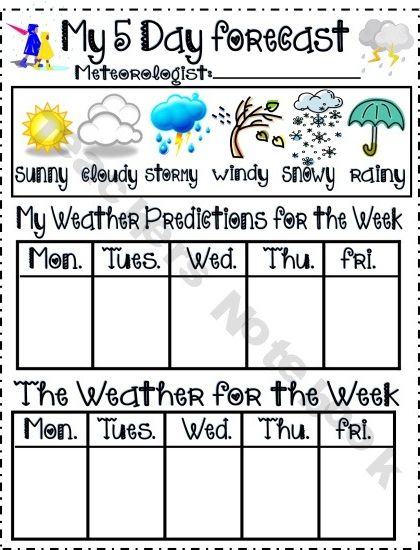 Weather Chart For Introducing Teaching Prediction Weather
