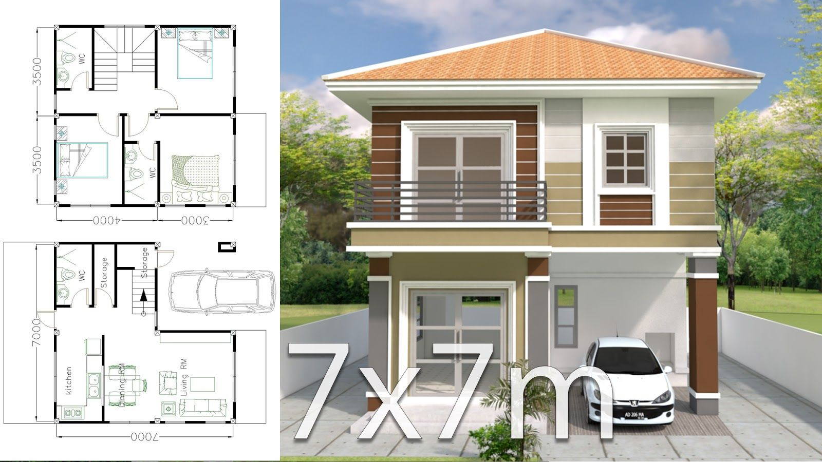 House Design Plan 7x7m With 3 Bedrooms House Plan Map Bungalow House Design Best Modern House Design House Design