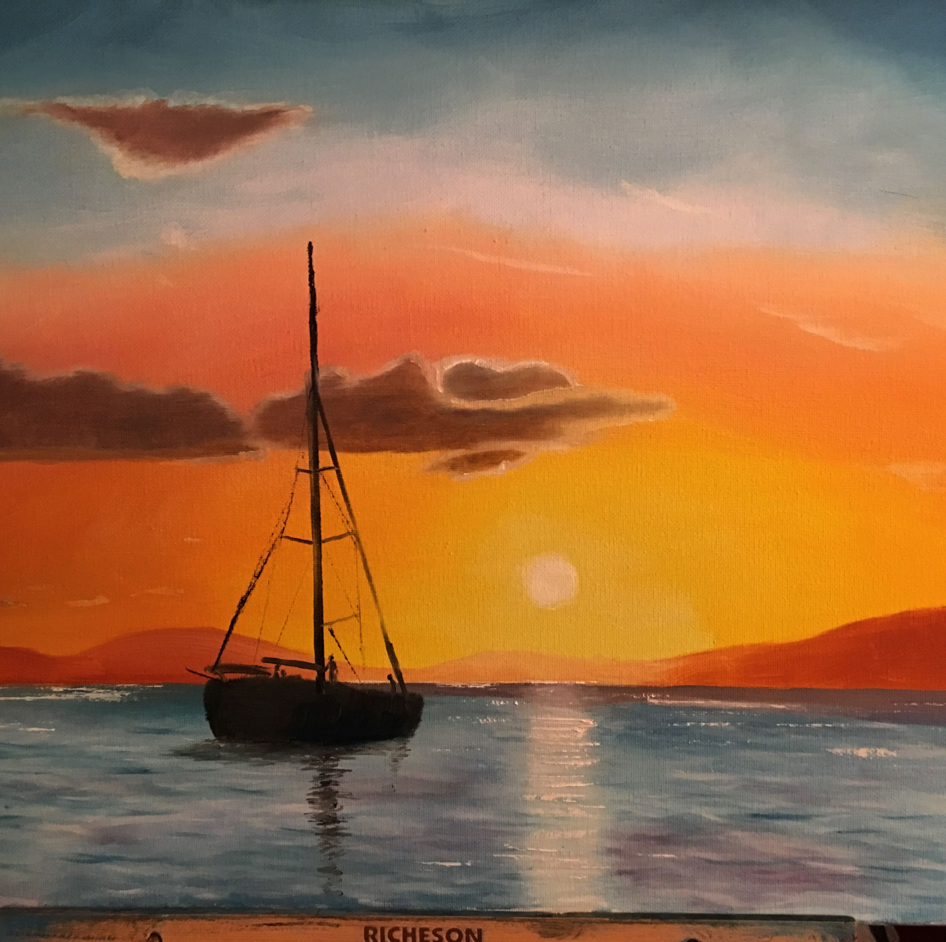 Boat on a lake at sunset oil painting 16x20 3212018