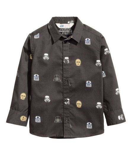 Star Wars Patterned Dress Shirt   H M Dress Patterns, Long Sleeve Shirts,  Kids Fashion 4161663bf9
