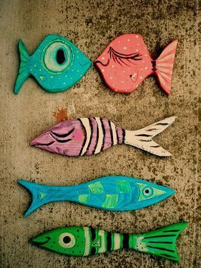 P4080mid century modern driftwood wall fish021 #strandhuis Fish. #strandhuis