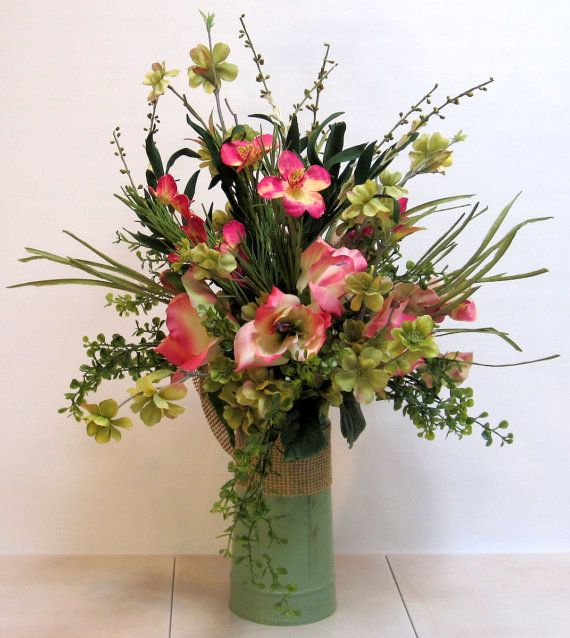 Spring Table Decor Silk Flower Arrangement Handmade Fl Centerpiece Home Rustic