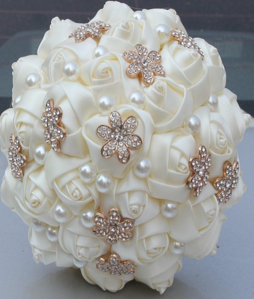 Satin Roses Brooch Bouquet or DIY Bouquet Kit Bridal Bridesmaids Bouquet Wedding Flowers