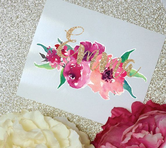 Peony Watercolor Monogram Decal Peony Decal Watercolor Monogram
