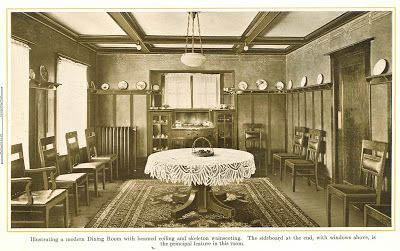 Modern Dining Room With Beamed Ceiling And Skeleton Wainscoting From 1915 Pre Finished Woodwork Brochure