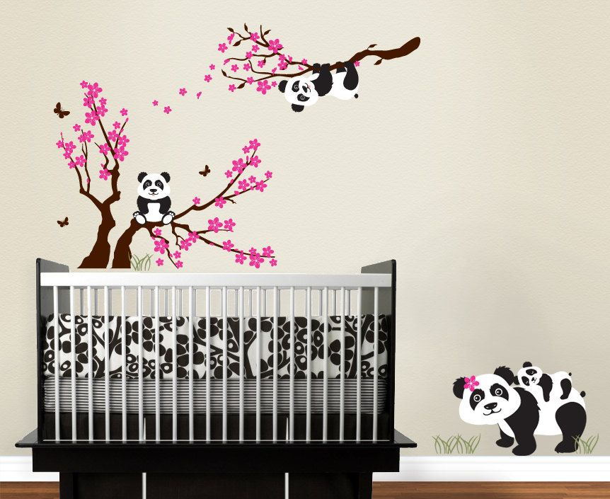 Panda Family With Blossom Branches Panda Decal Baby