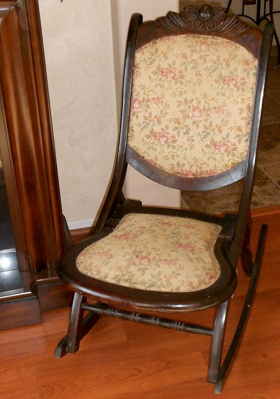 antique rocking chair ca early 1900s by cottageshabbyshack. Black Bedroom Furniture Sets. Home Design Ideas