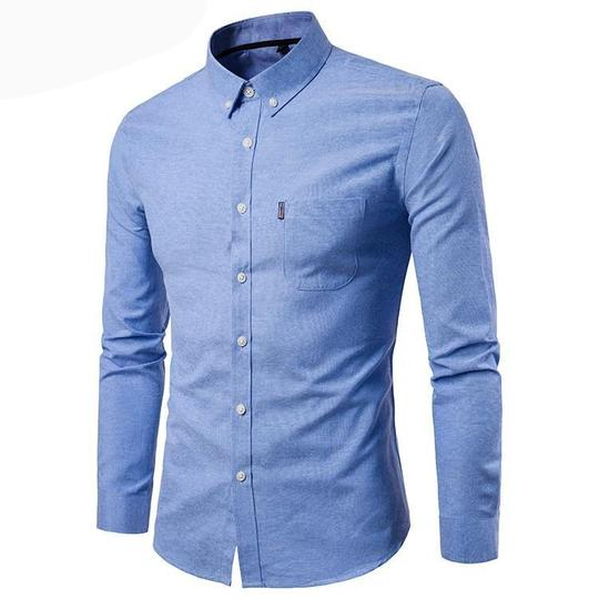 Doufine Men Button Long Sleeve Cotton Turn-Down Collar Slim Fit Work Shirt