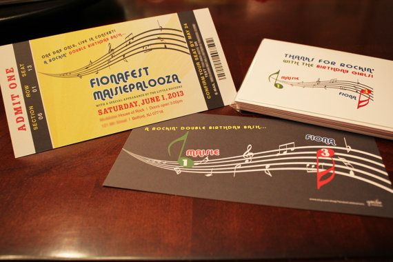 Rock Star Concert Ticket Birthday Invitation by YondeeCelebrations - concert ticket birthday invitations