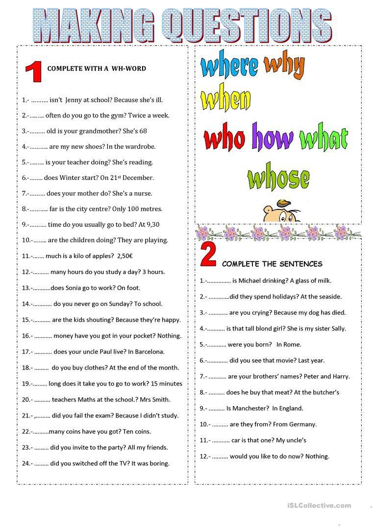 MAKING QUESTIONS Worksheet Free ESL Printable Worksheets