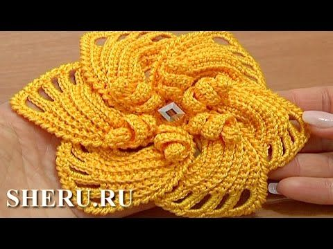 As Receitas de Crochê: Flor de crochê com pétalas sobrepostas